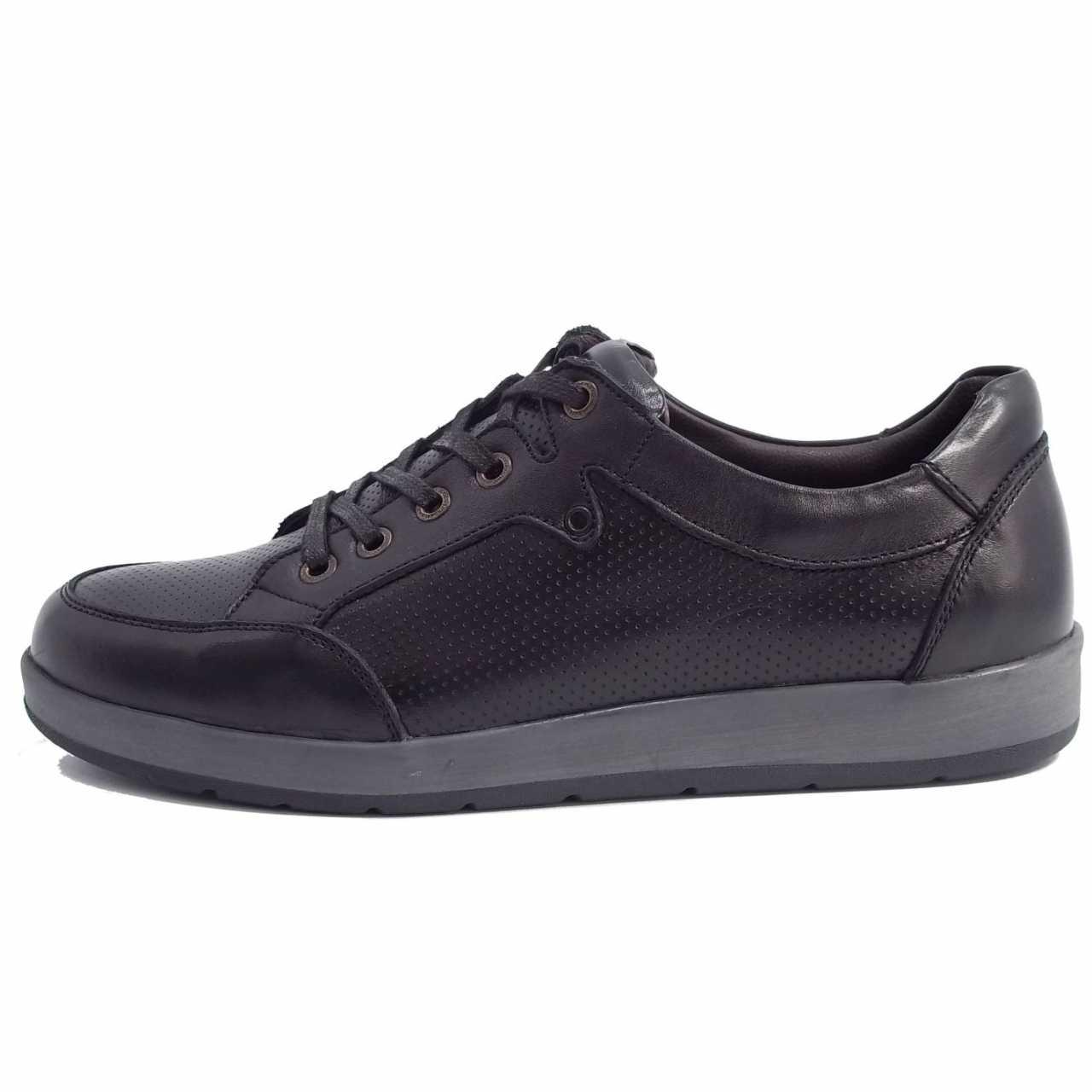 کفش اسپرت چرم کترپیلار مدل پانچی مشکی