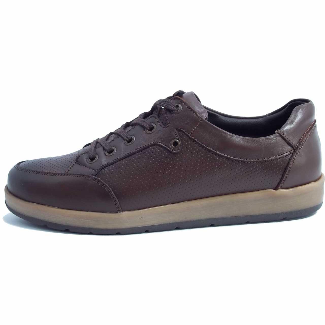کفش اسپرت چرم کترپیلار مدل پانچی قهوه ای