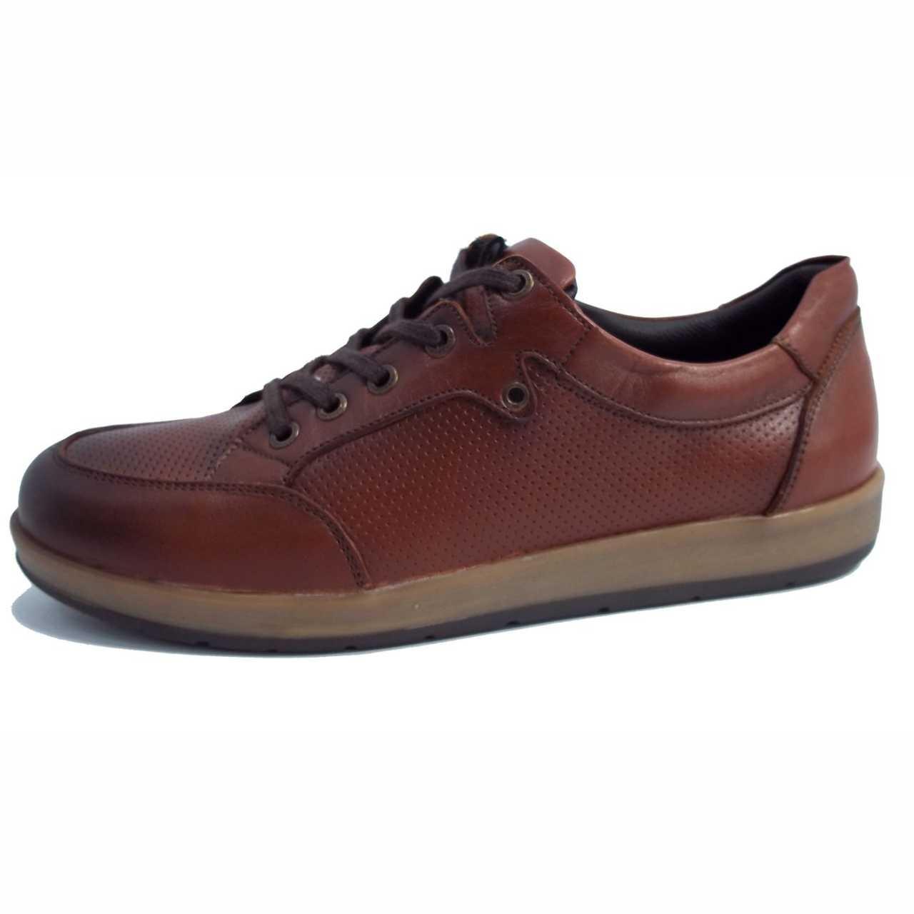 کفش اسپرت چرم کترپیلار مدل پانچی قهوه ای روشن