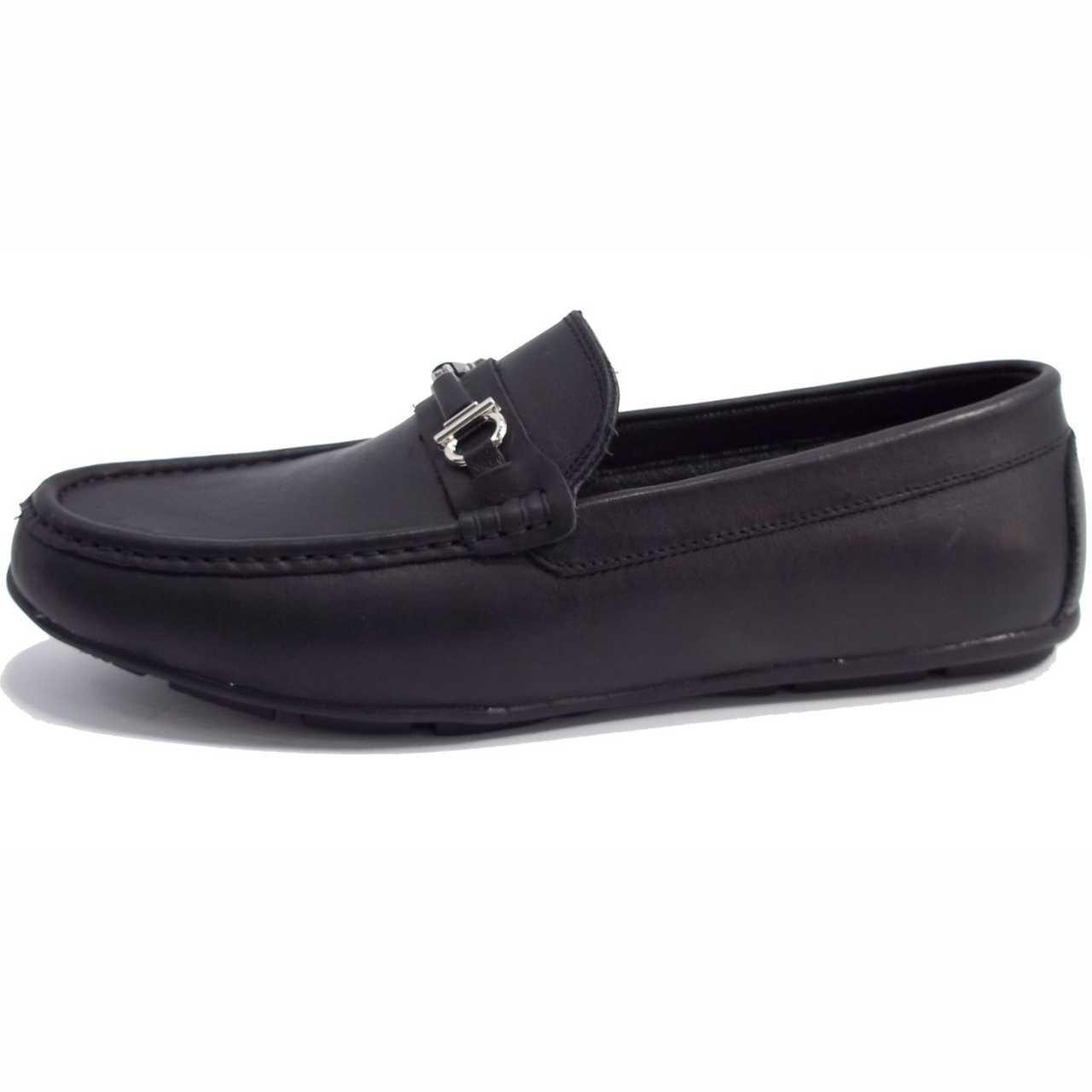 کفش کالج چرم مدل اکو سگکدار مشکی