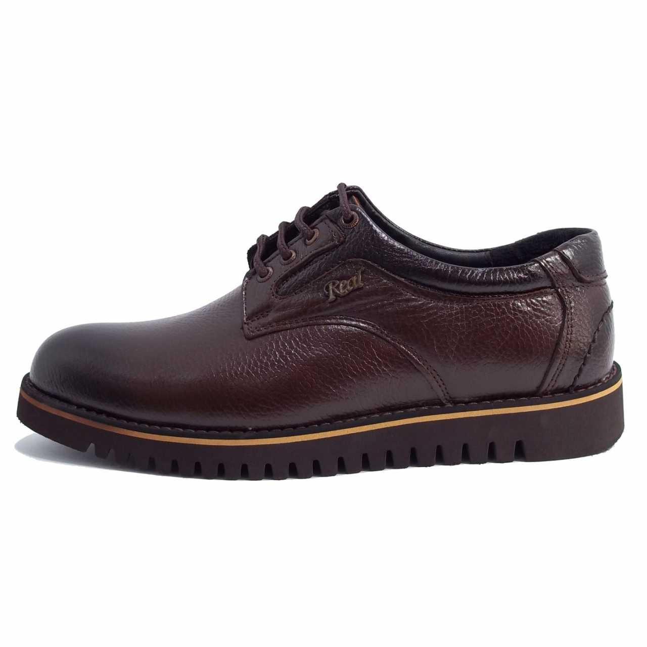 کفش اسپرت چرم رخشی قهوه ای