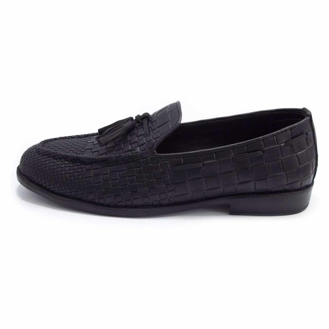 کفش کالج مدل کروکودیل مشکی