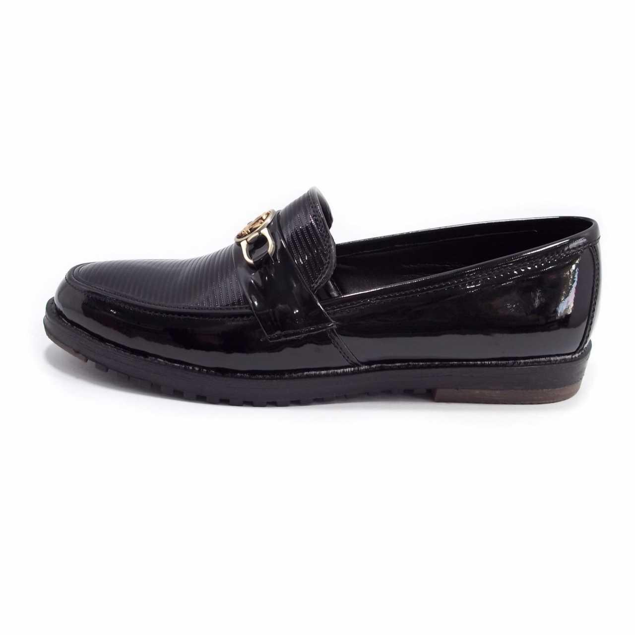 کفش کالج مدل ورنی یراق دار  مشکی