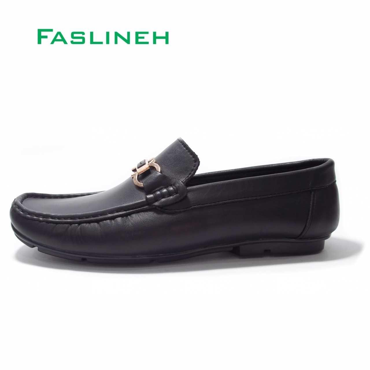 کفش کالج چرم مشکی  مدل Salvatore Ferragamo F102