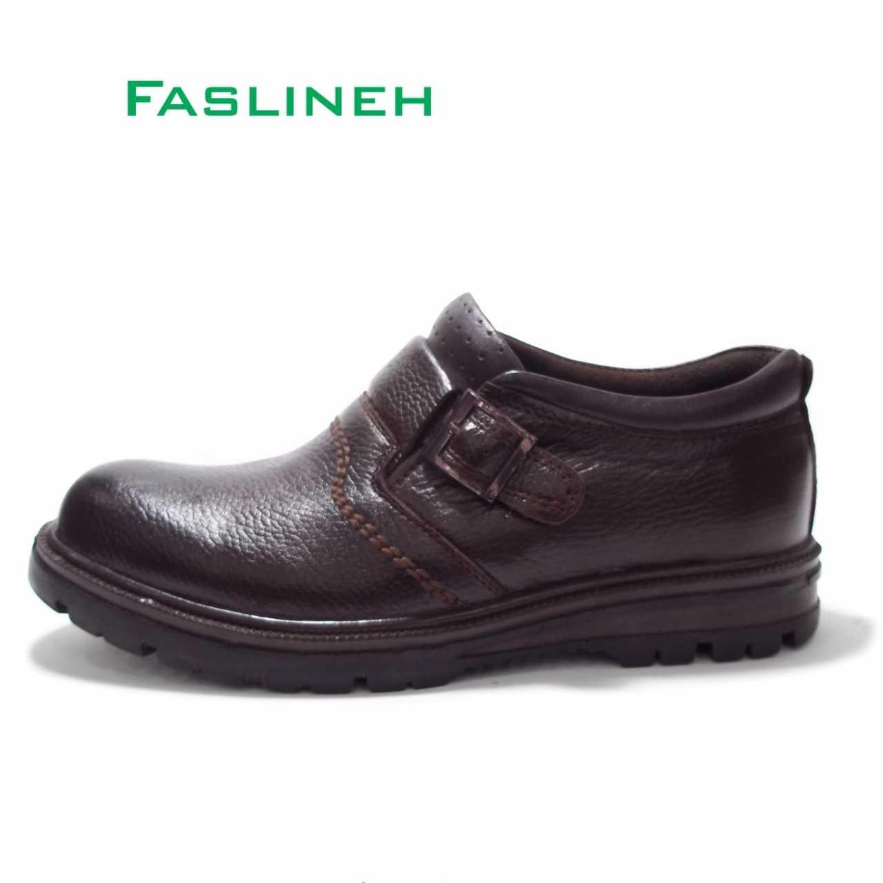 کفش چرم قهوه ای  رکاب دار رخشی
