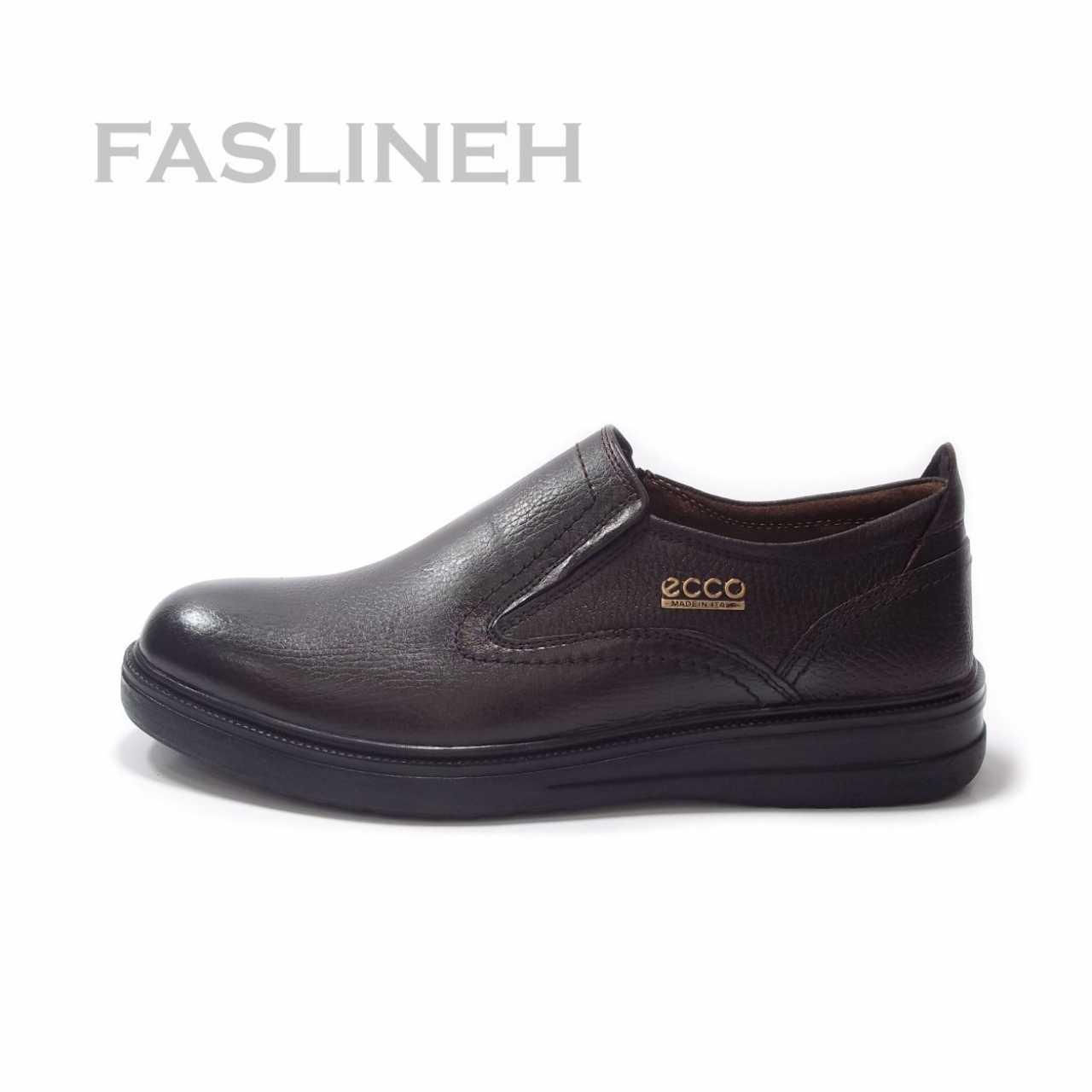 کفش چرم نمونه طرح اکو قهوه ای  NME0831