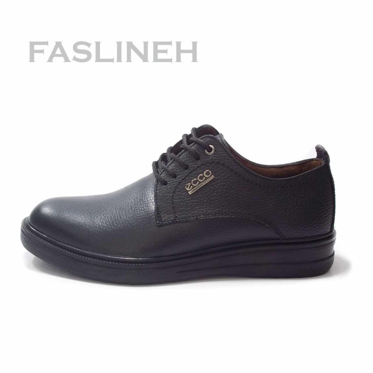 کفش چرم  نمونه مشکی طرح اکو NE0832