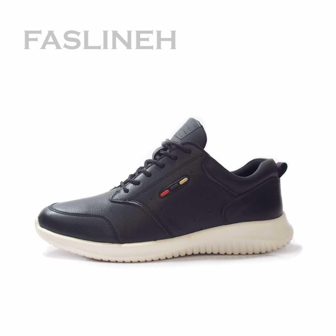 کفش چرم  اسپرت  مشکی سفید مدل CHL689