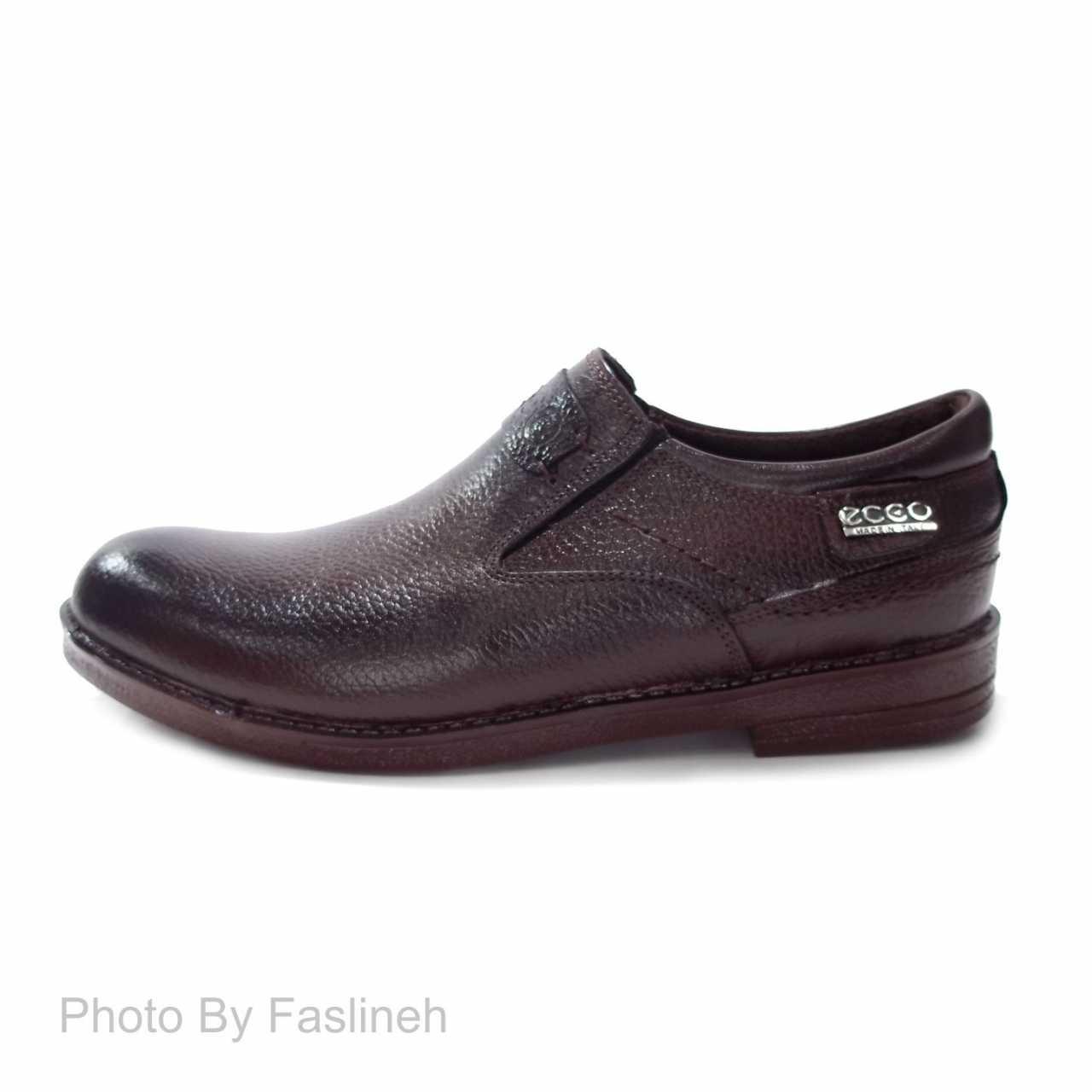 کفش چرم رویه ساده طرح اکو بدون بند PVE56 قهوه ای