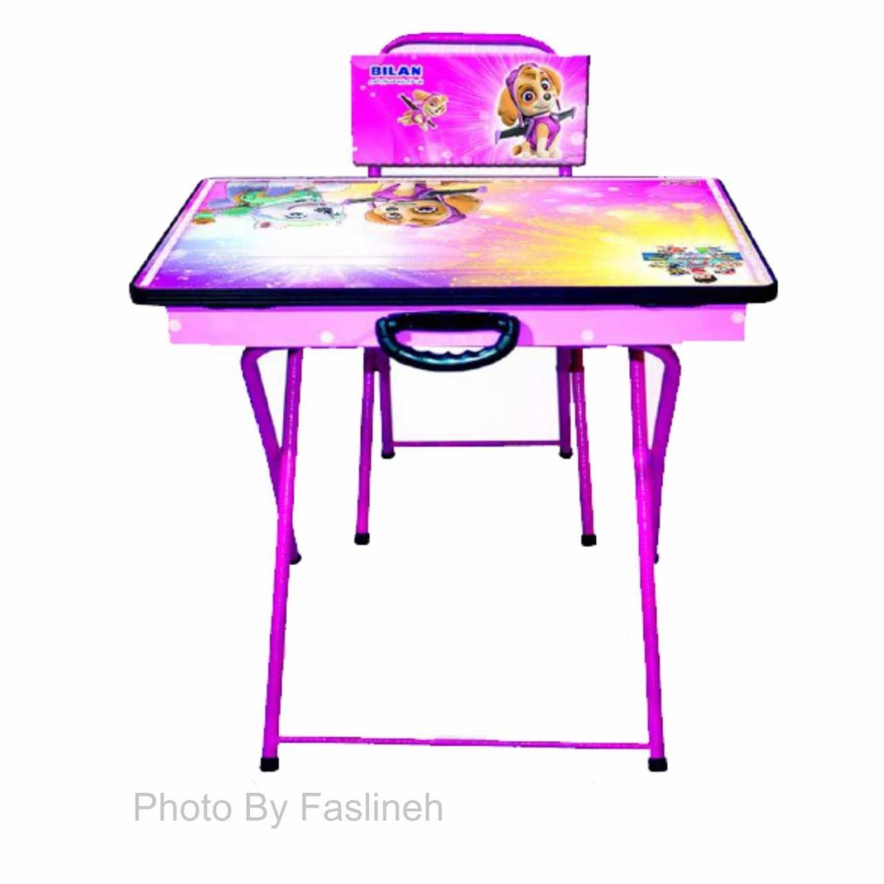 میز و صندلی تحریر تاشو بیلن مدل M2 سگهای نگهبان دخترانه