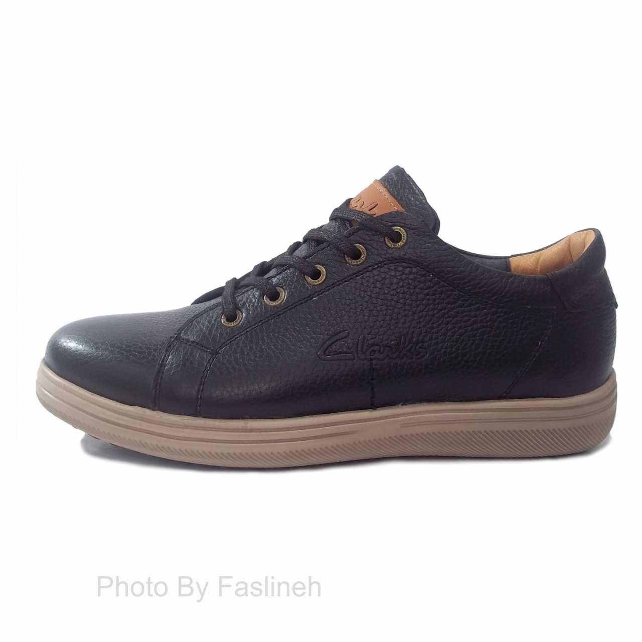 کفش چرم اسپرت کلارک مشکی CSL3201
