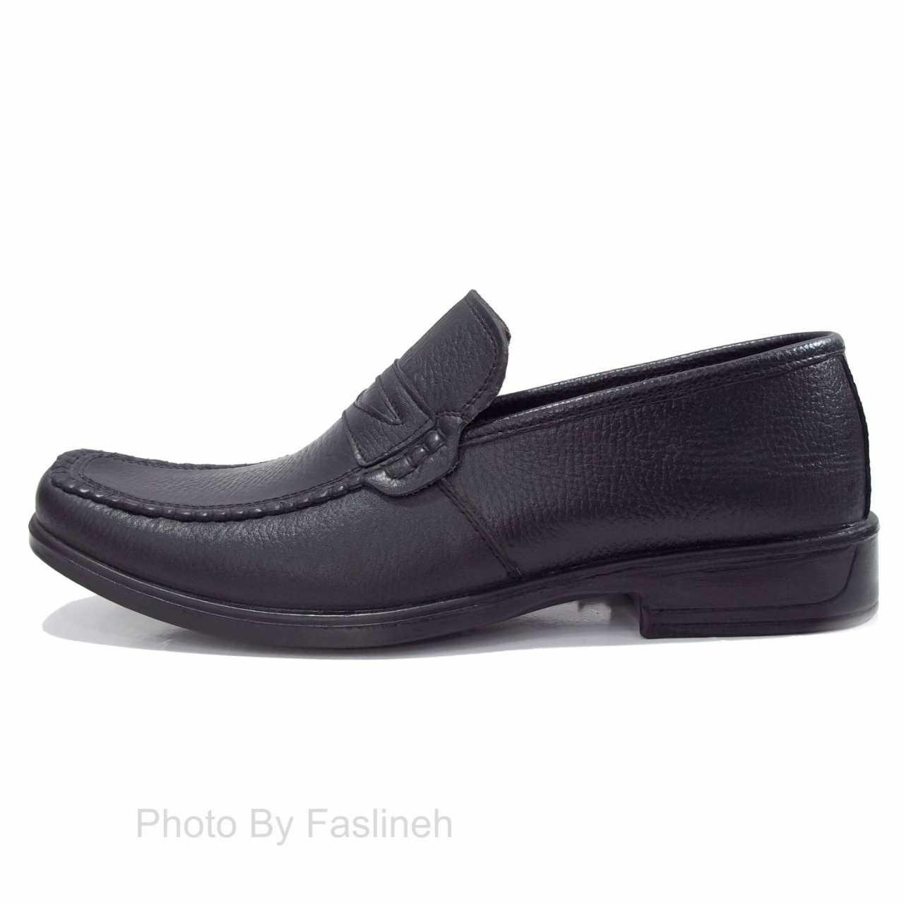 کفش چرم انصاری مشکی بدون بند TA59